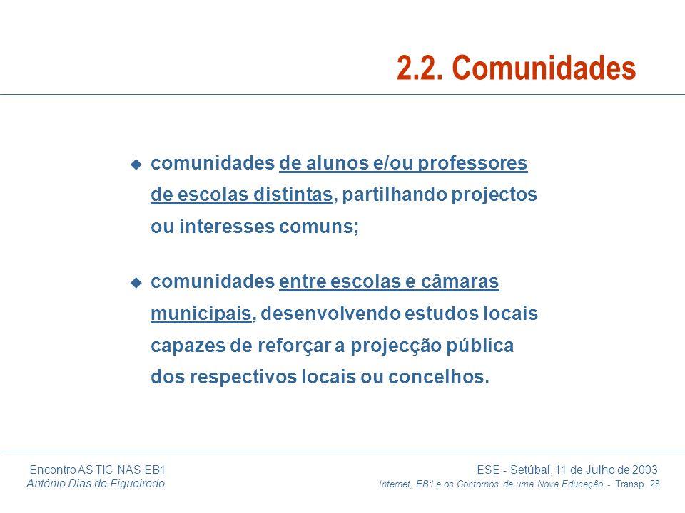 2.2. Comunidades comunidades de alunos e/ou professores de escolas distintas, partilhando projectos ou interesses comuns;