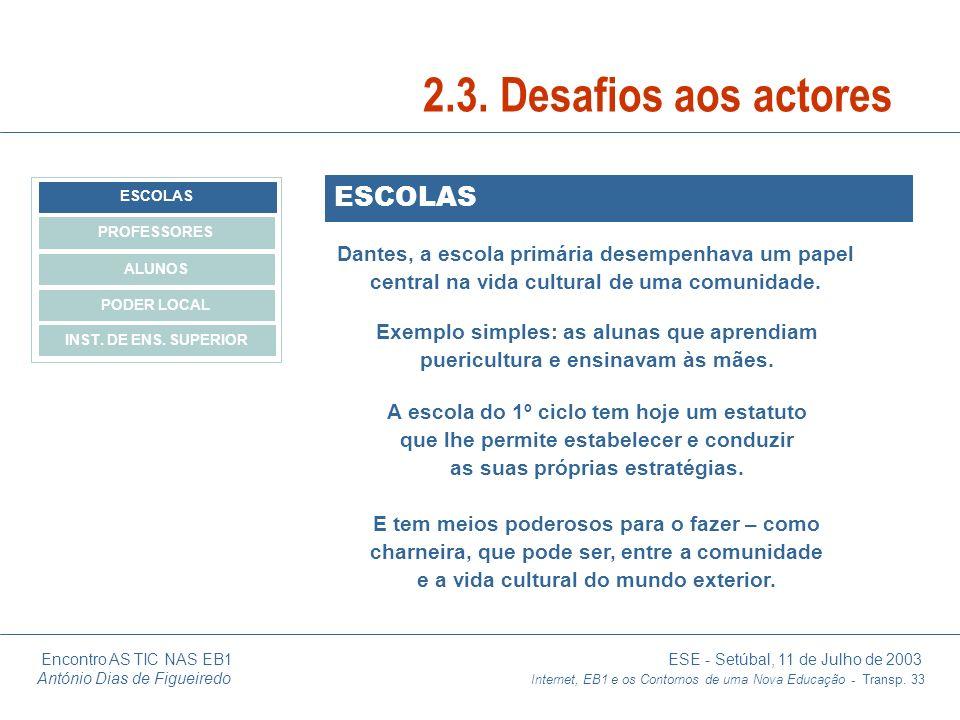 2.3. Desafios aos actores ESCOLAS