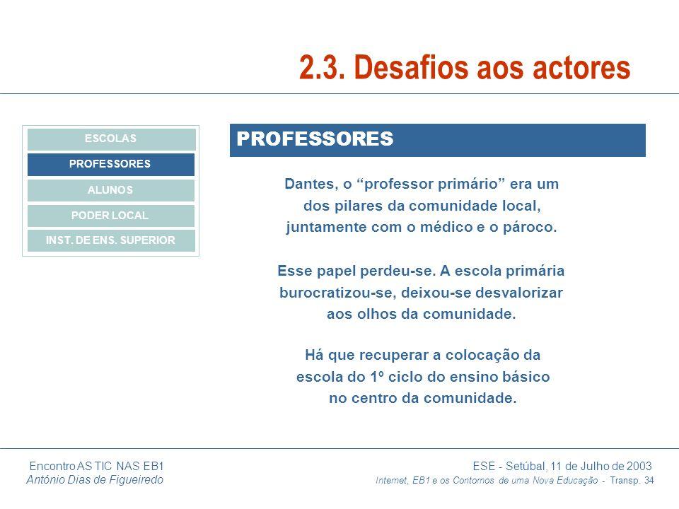 2.3. Desafios aos actores PROFESSORES