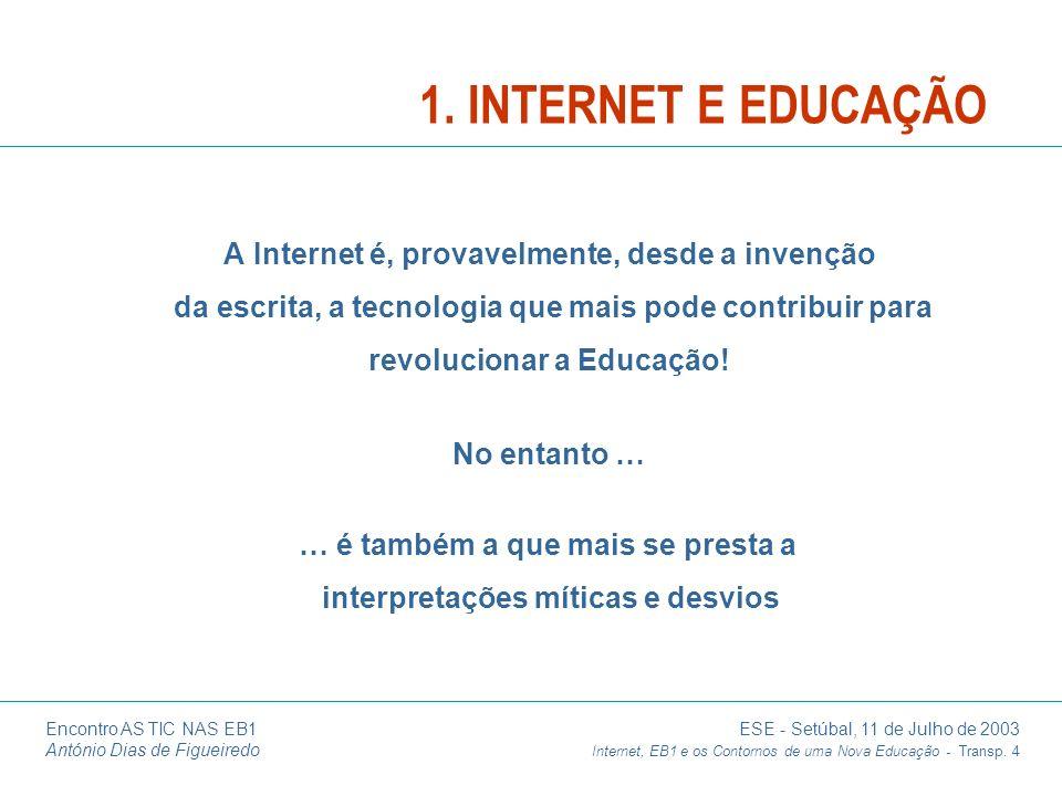 3/25/20171. INTERNET E EDUCAÇÃO. A Internet é, provavelmente, desde a invenção da escrita, a tecnologia que mais pode contribuir para.