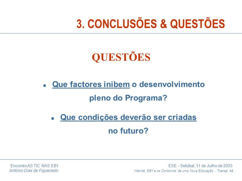 3. CONCLUSÕES & QUESTÕES QUESTÕES