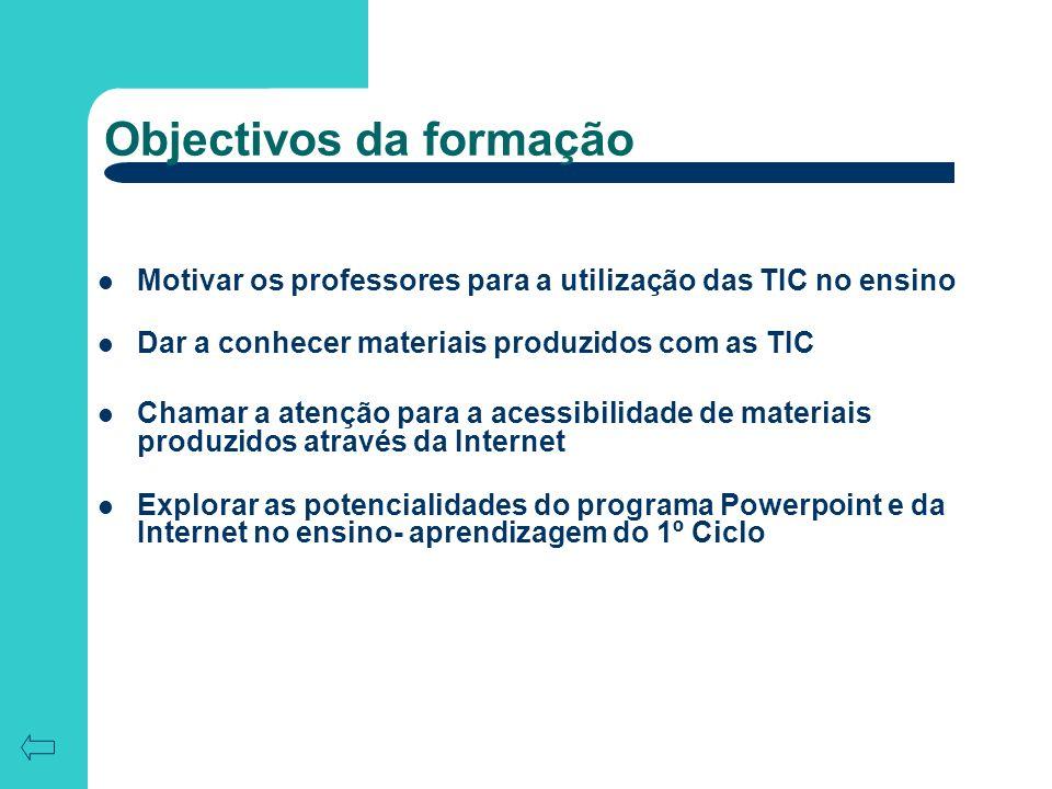 Objectivos da formação