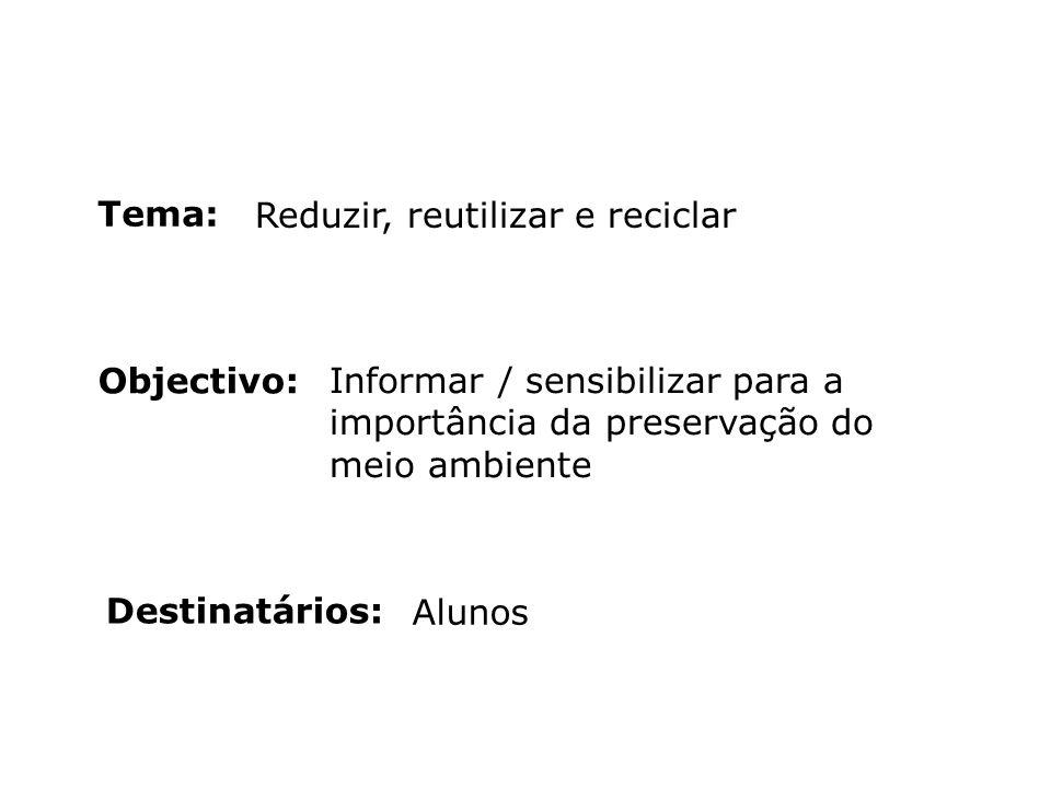 Tema: Reduzir, reutilizar e reciclar. Objectivo: Informar / sensibilizar para a importância da preservação do meio ambiente.