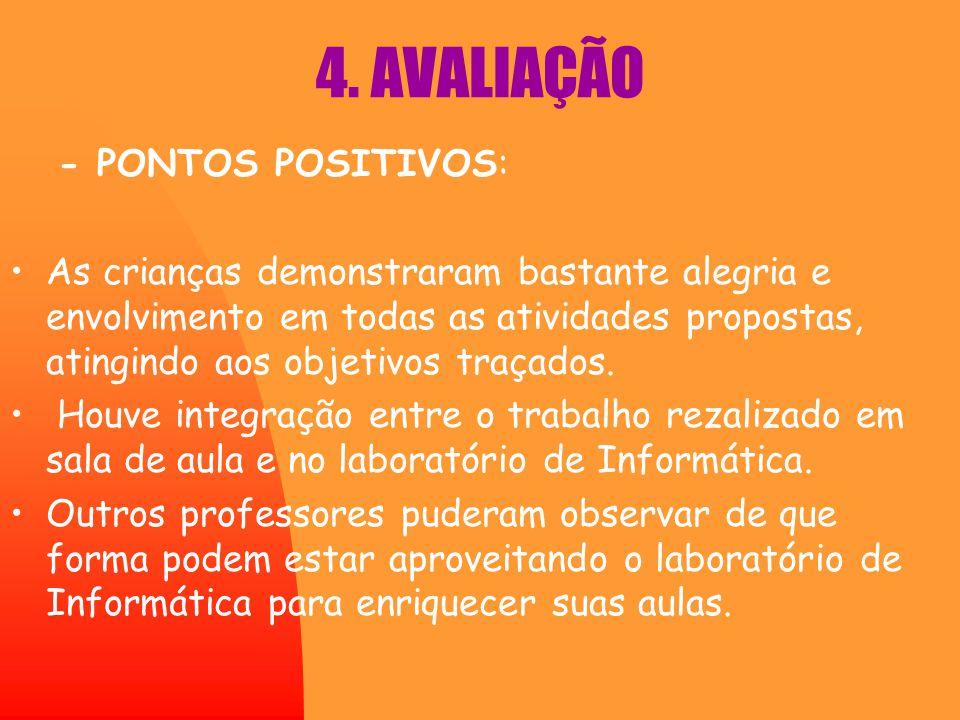 4. AVALIAÇÃO - PONTOS POSITIVOS: