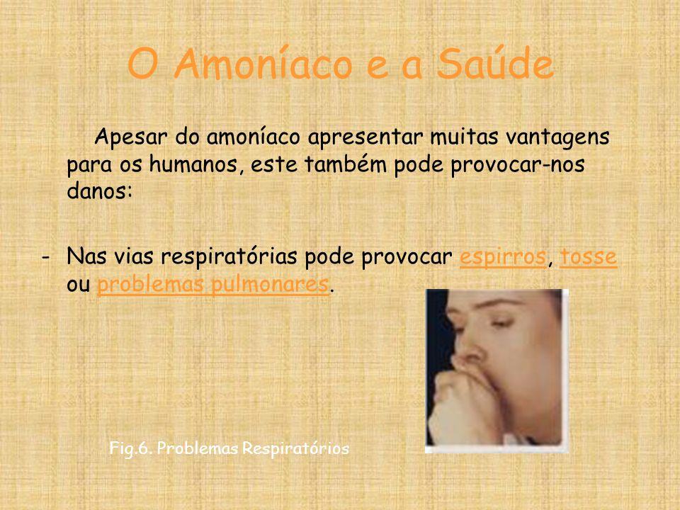O Amoníaco e a SaúdeApesar do amoníaco apresentar muitas vantagens para os humanos, este também pode provocar-nos danos: