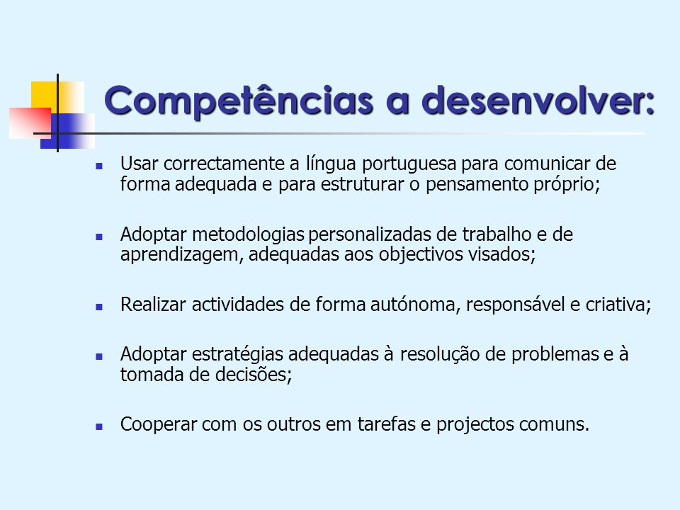 Competências a desenvolver: