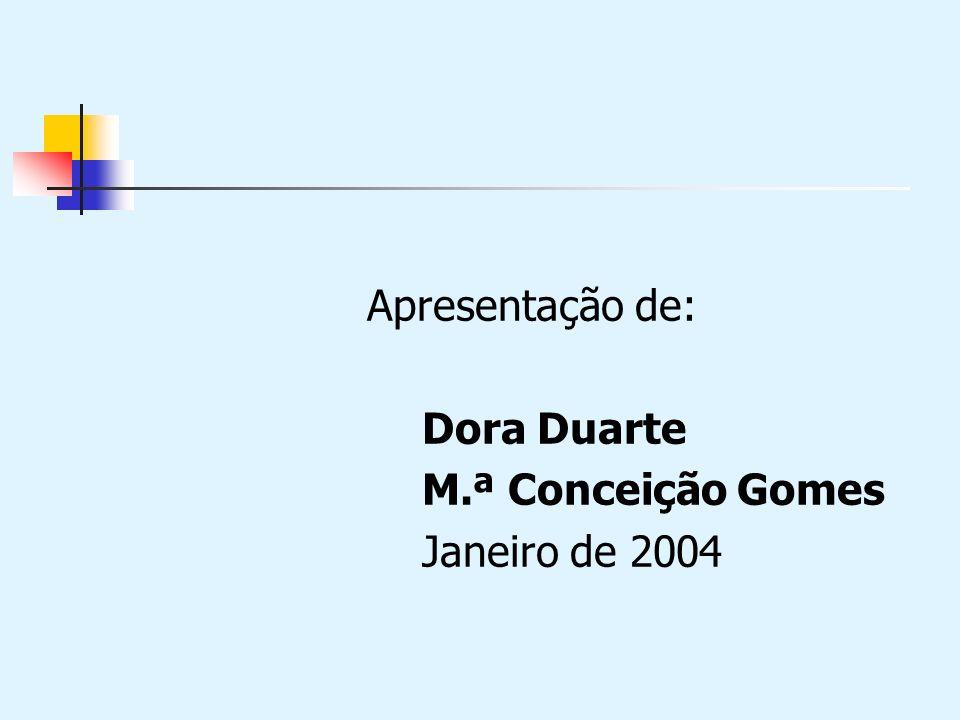 Apresentação de: Dora Duarte M.ª Conceição Gomes Janeiro de 2004