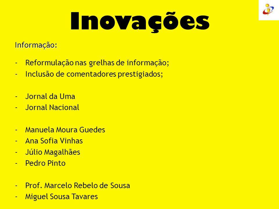 Inovações Informação: Reformulação nas grelhas de informação;