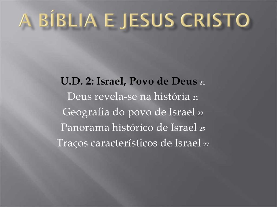 Deus revela-se na história 21 Geografia do povo de Israel 22