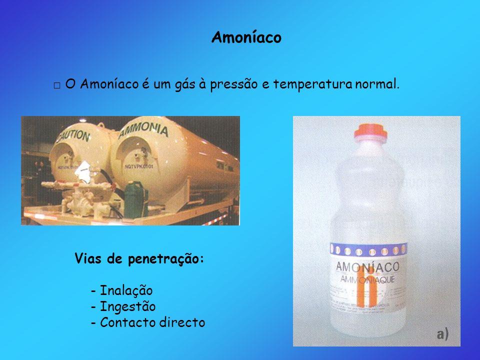 Amoníaco □ O Amoníaco é um gás à pressão e temperatura normal.