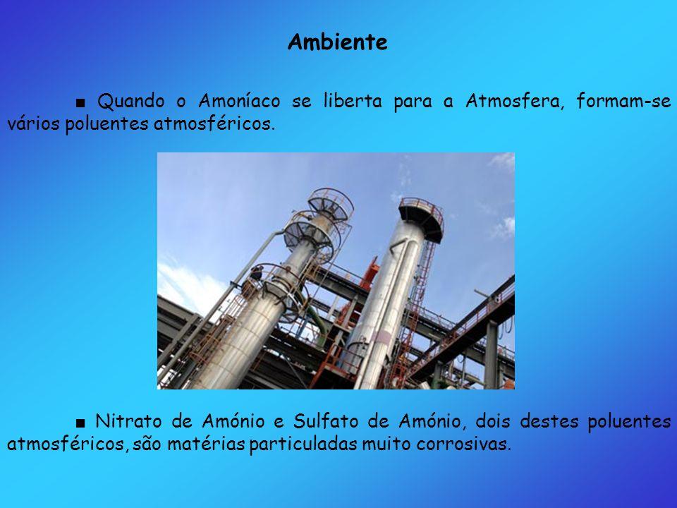 Ambiente ■ Quando o Amoníaco se liberta para a Atmosfera, formam-se vários poluentes atmosféricos.