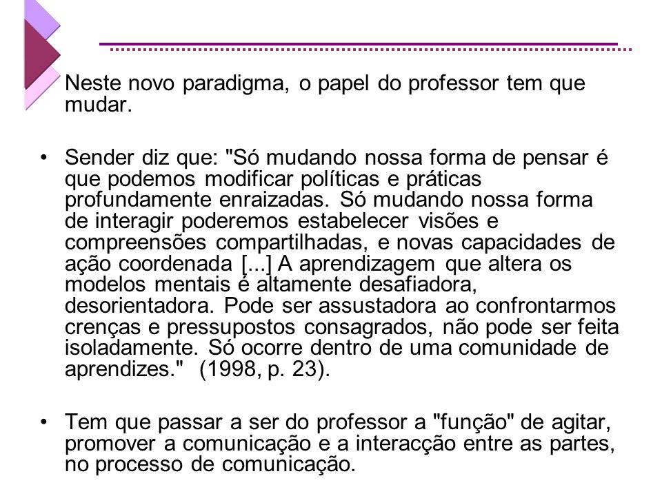 Neste novo paradigma, o papel do professor tem que mudar.