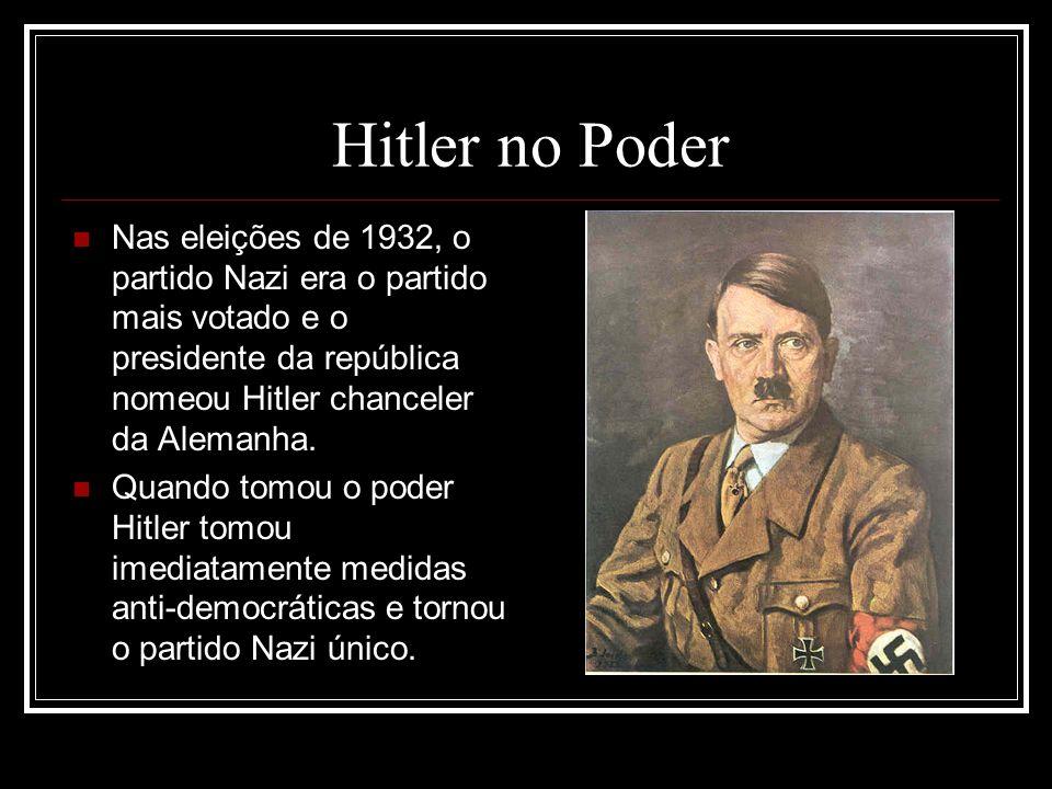 Hitler no Poder Nas eleições de 1932, o partido Nazi era o partido mais votado e o presidente da república nomeou Hitler chanceler da Alemanha.
