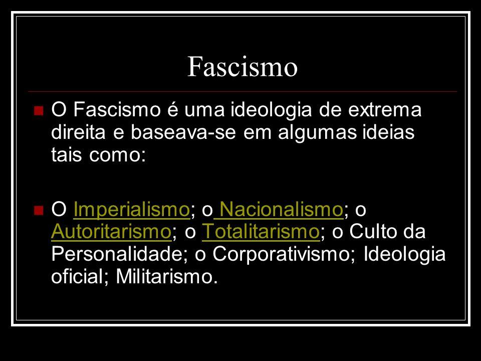 Fascismo O Fascismo é uma ideologia de extrema direita e baseava-se em algumas ideias tais como: