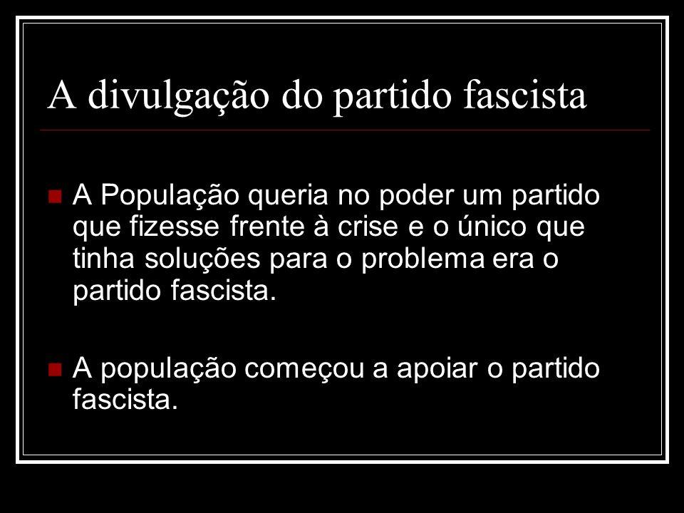 A divulgação do partido fascista