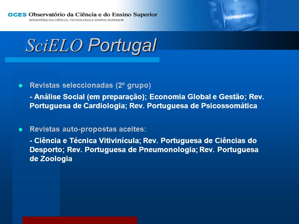 SciELO Portugal Revistas seleccionadas (2º grupo)