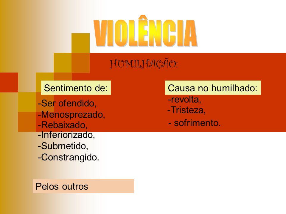 VIOLÊNCIA HUMILHAÇÃO: Sentimento de: Causa no humilhado: -revolta,