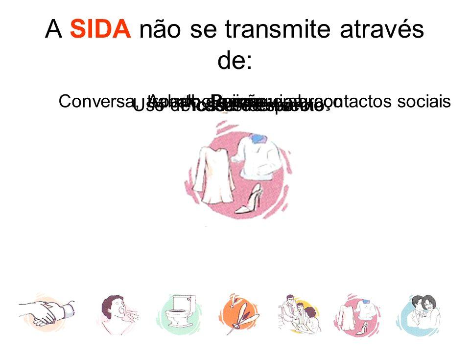A SIDA não se transmite através de: