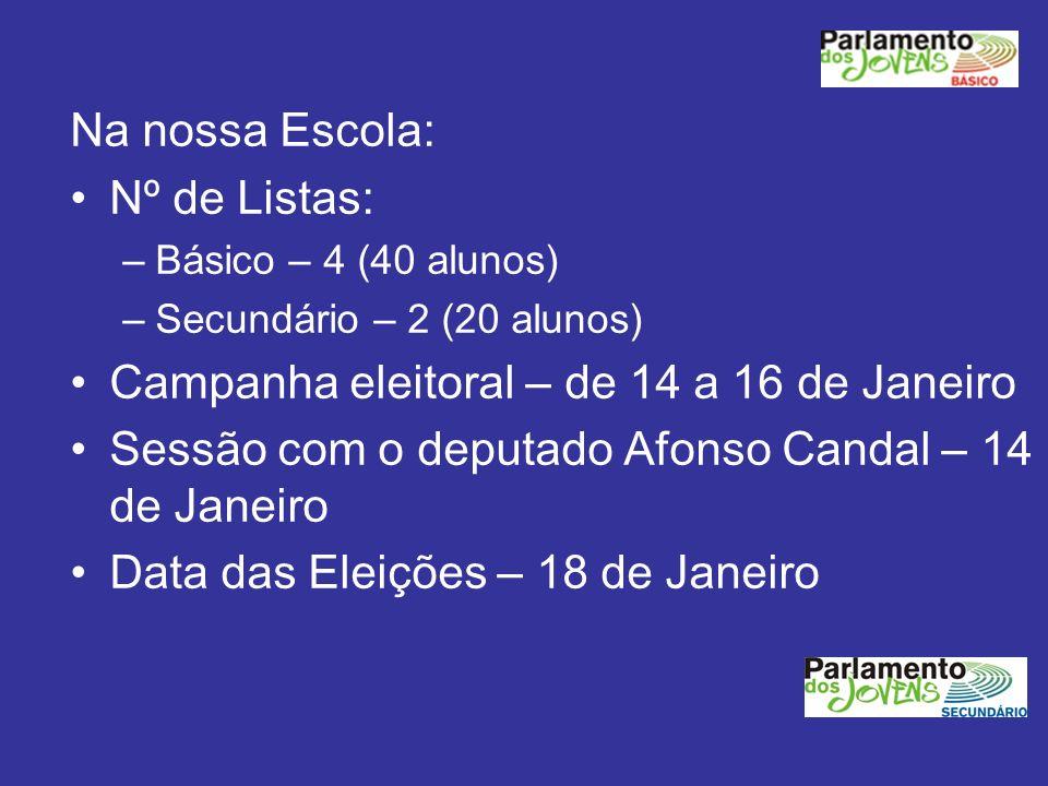 Campanha eleitoral – de 14 a 16 de Janeiro