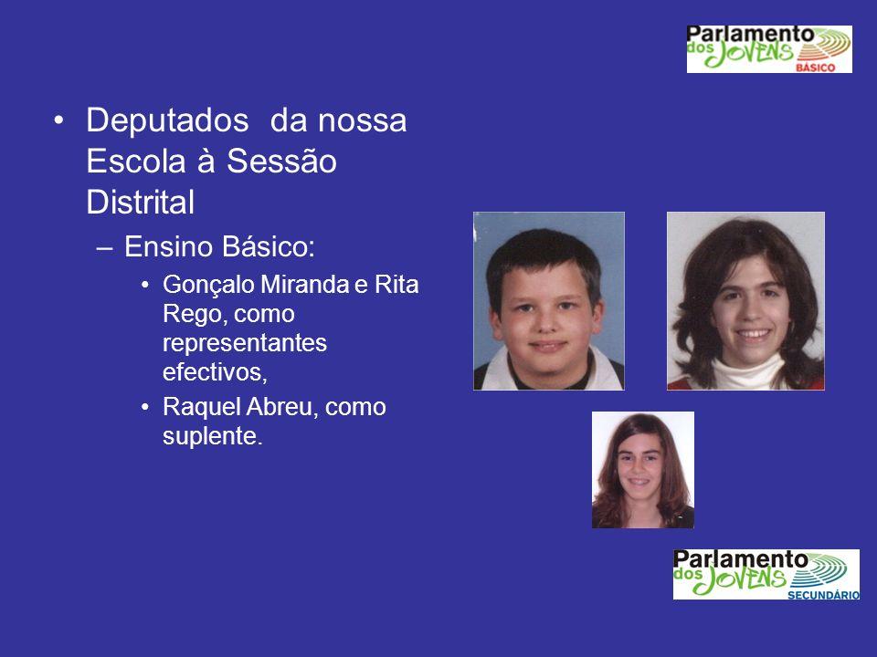 Deputados da nossa Escola à Sessão Distrital