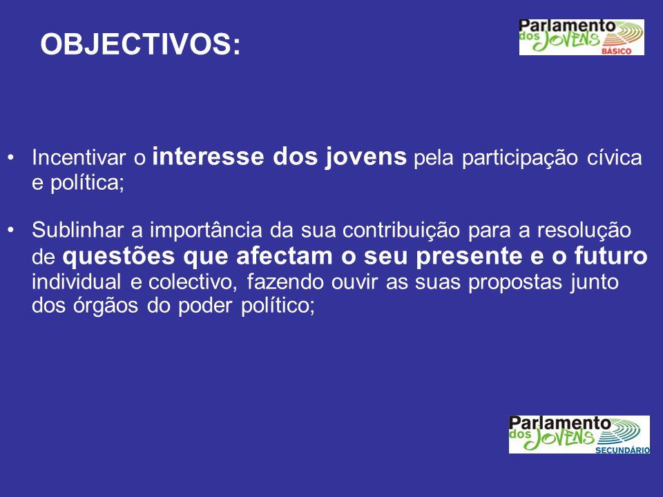 OBJECTIVOS:Incentivar o interesse dos jovens pela participação cívica e política;