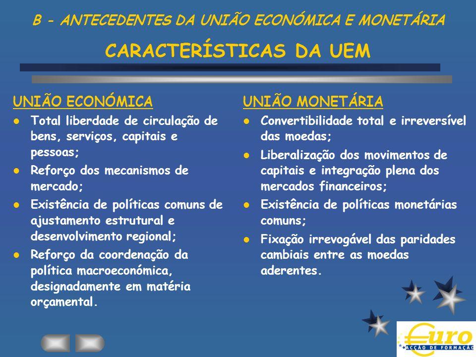 B - ANTECEDENTES DA UNIÃO ECONÓMICA E MONETÁRIA CARACTERÍSTICAS DA UEM