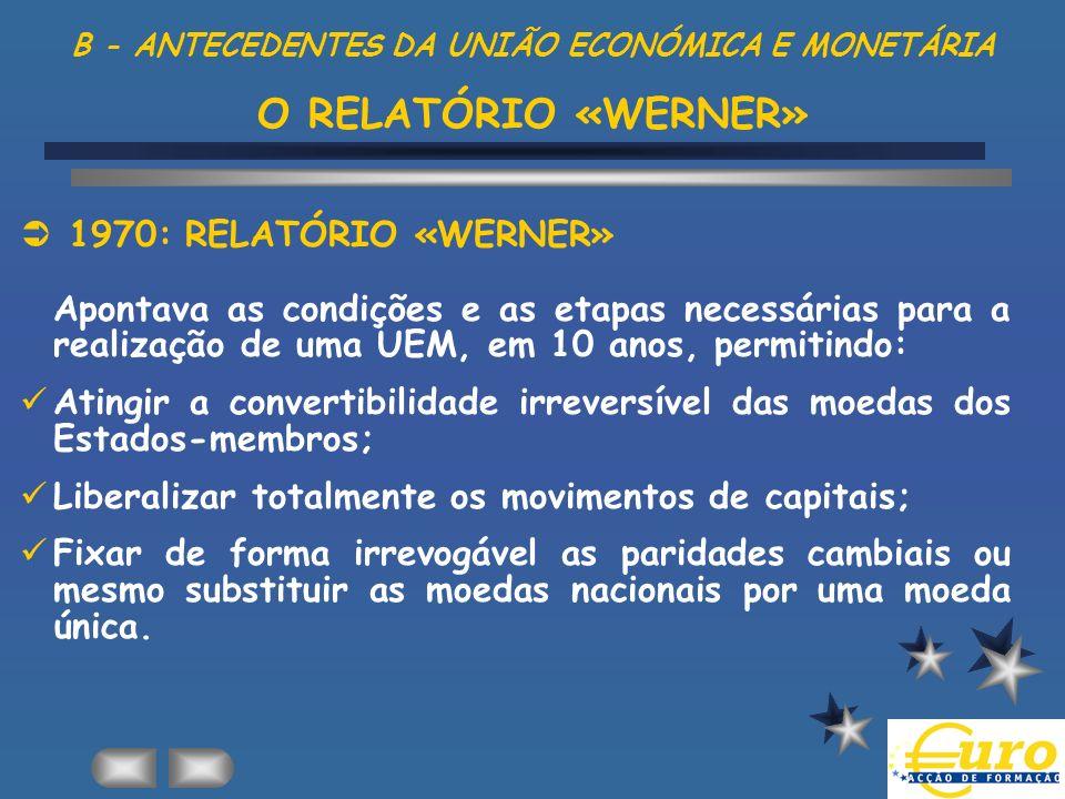 B - ANTECEDENTES DA UNIÃO ECONÓMICA E MONETÁRIA O RELATÓRIO «WERNER»