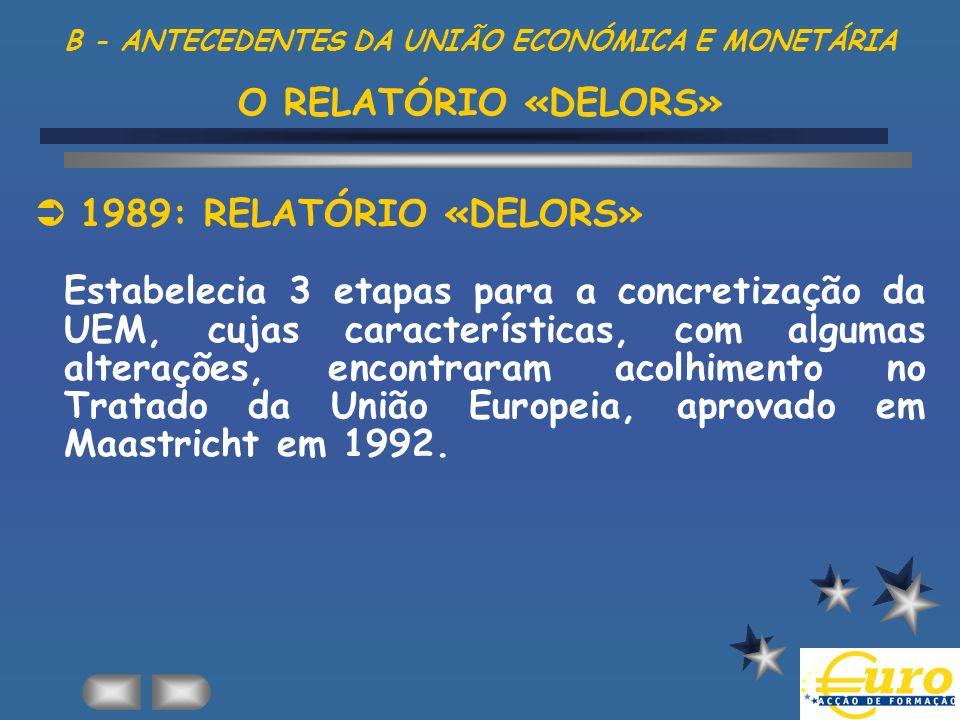 B - ANTECEDENTES DA UNIÃO ECONÓMICA E MONETÁRIA O RELATÓRIO «DELORS»