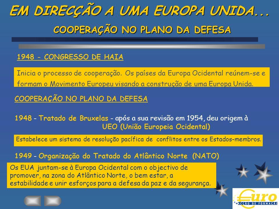 EM DIRECÇÃO A UMA EUROPA UNIDA... COOPERAÇÃO NO PLANO DA DEFESA