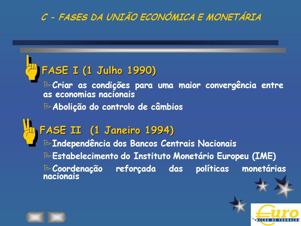 C - FASES DA UNIÃO ECONÓMICA E MONETÁRIA