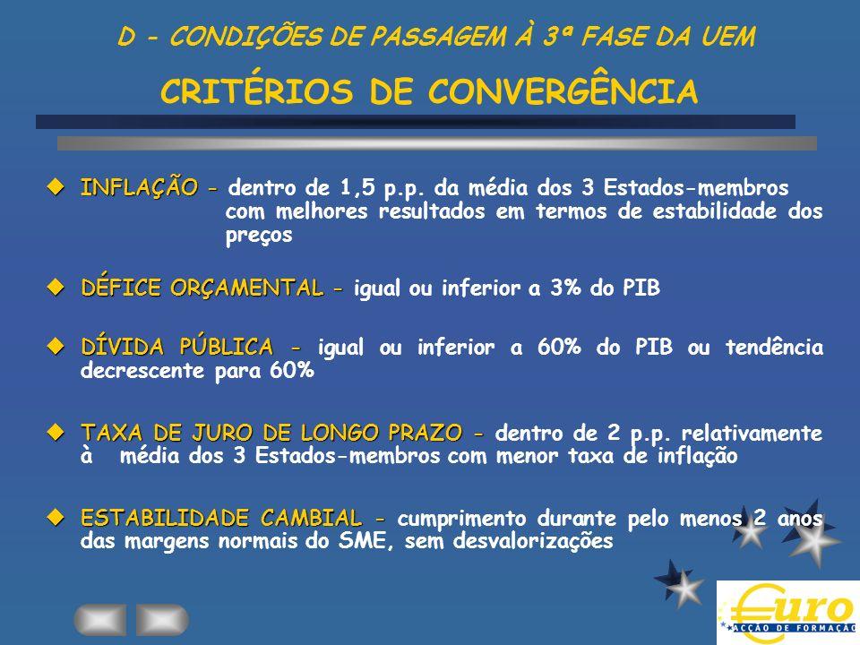 D - CONDIÇÕES DE PASSAGEM À 3ª FASE DA UEM CRITÉRIOS DE CONVERGÊNCIA