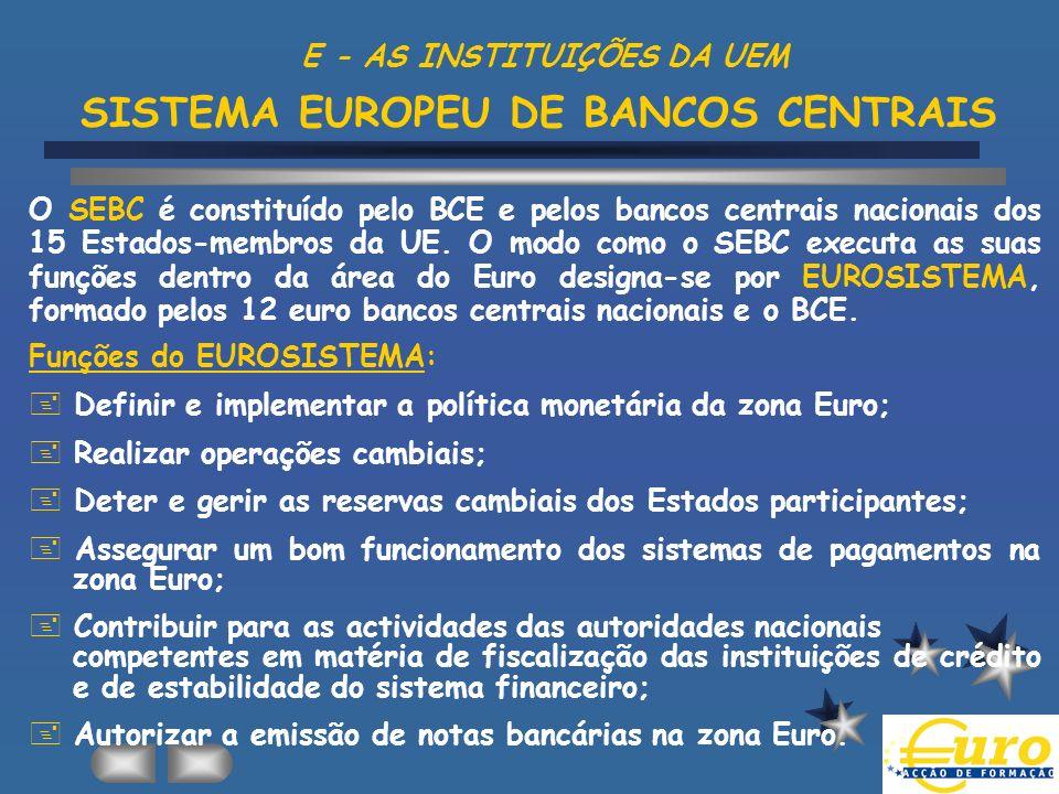 E - AS INSTITUIÇÕES DA UEM SISTEMA EUROPEU DE BANCOS CENTRAIS