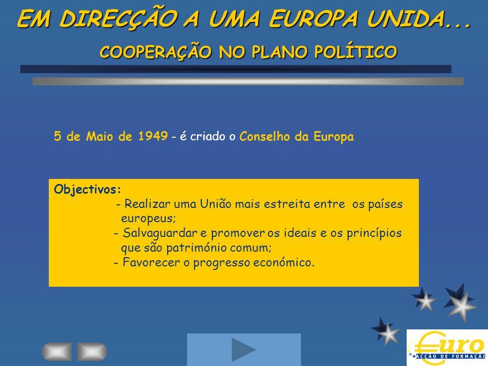 EM DIRECÇÃO A UMA EUROPA UNIDA... COOPERAÇÃO NO PLANO POLÍTICO