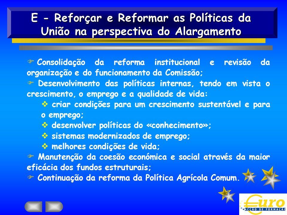 E - Reforçar e Reformar as Políticas da União na perspectiva do Alargamento