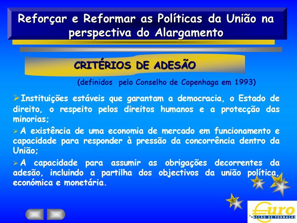 Reforçar e Reformar as Políticas da União na perspectiva do Alargamento