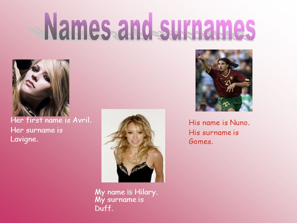 Names and surnames Her first name is Avril. His name is Nuno.
