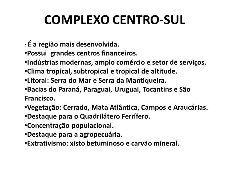 COMPLEXO CENTRO-SUL Possui grandes centros financeiros.