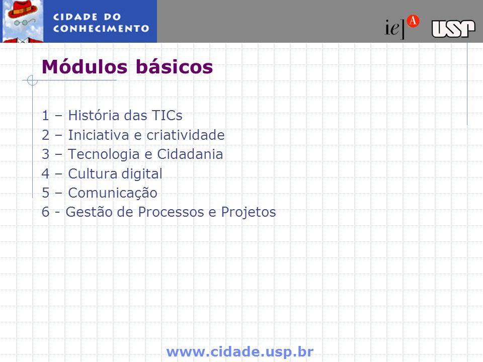 Módulos básicos 1 – História das TICs 2 – Iniciativa e criatividade