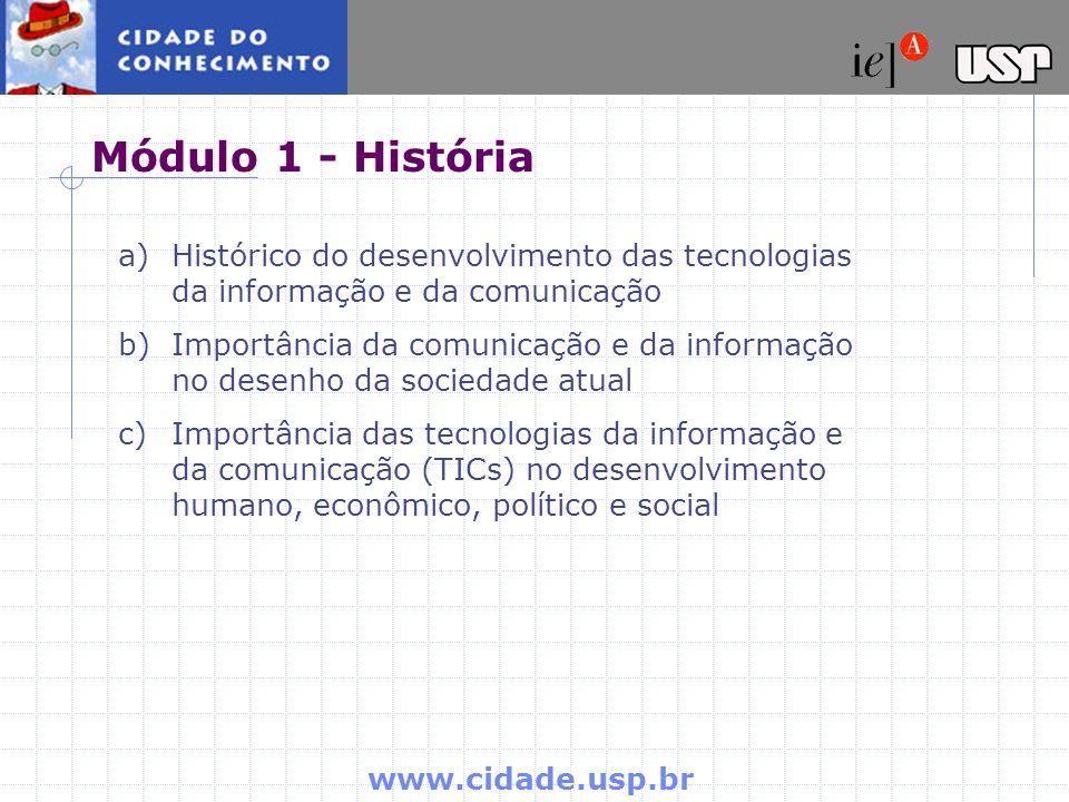 Módulo 1 - História Histórico do desenvolvimento das tecnologias da informação e da comunicação.