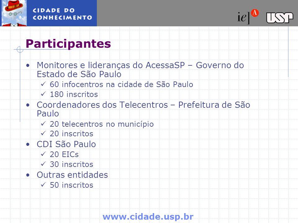 Participantes Monitores e lideranças do AcessaSP – Governo do Estado de São Paulo. 60 infocentros na cidade de São Paulo.