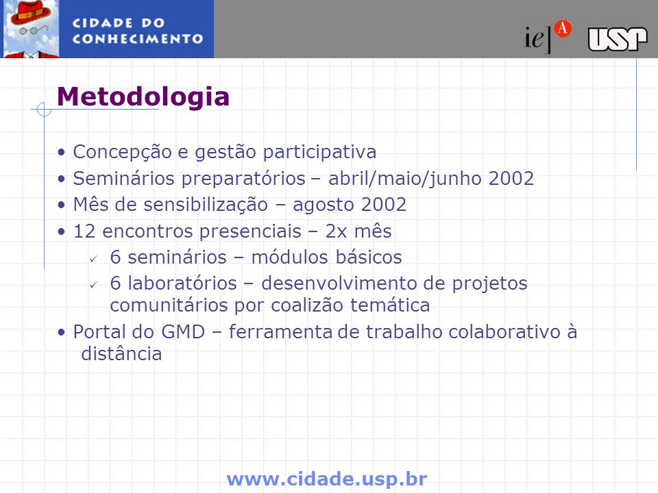 Metodologia • Concepção e gestão participativa