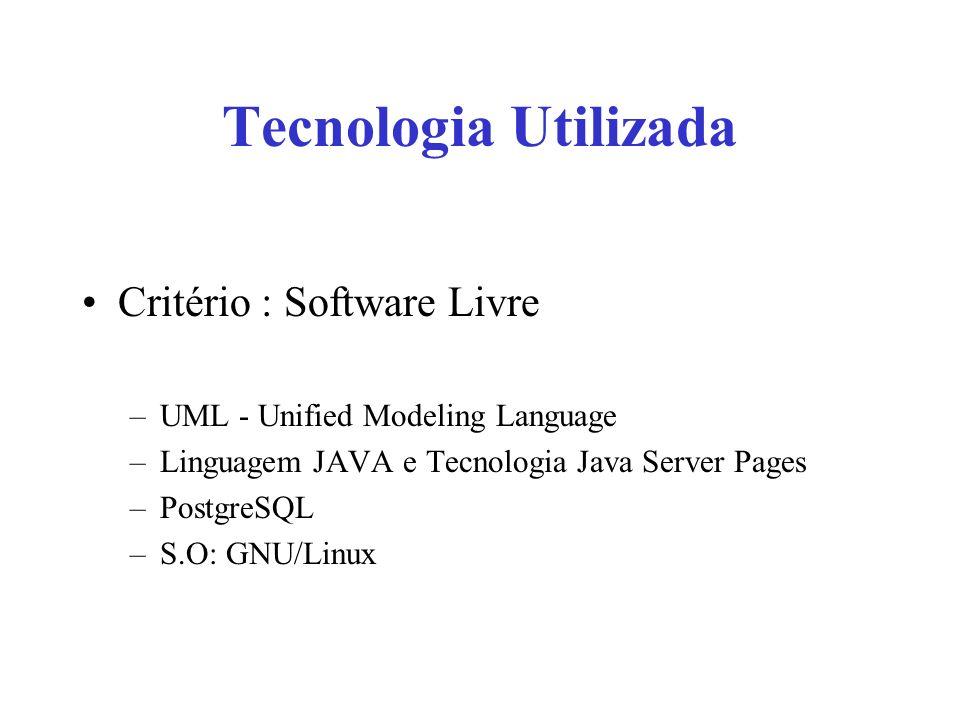 Tecnologia Utilizada Critério : Software Livre