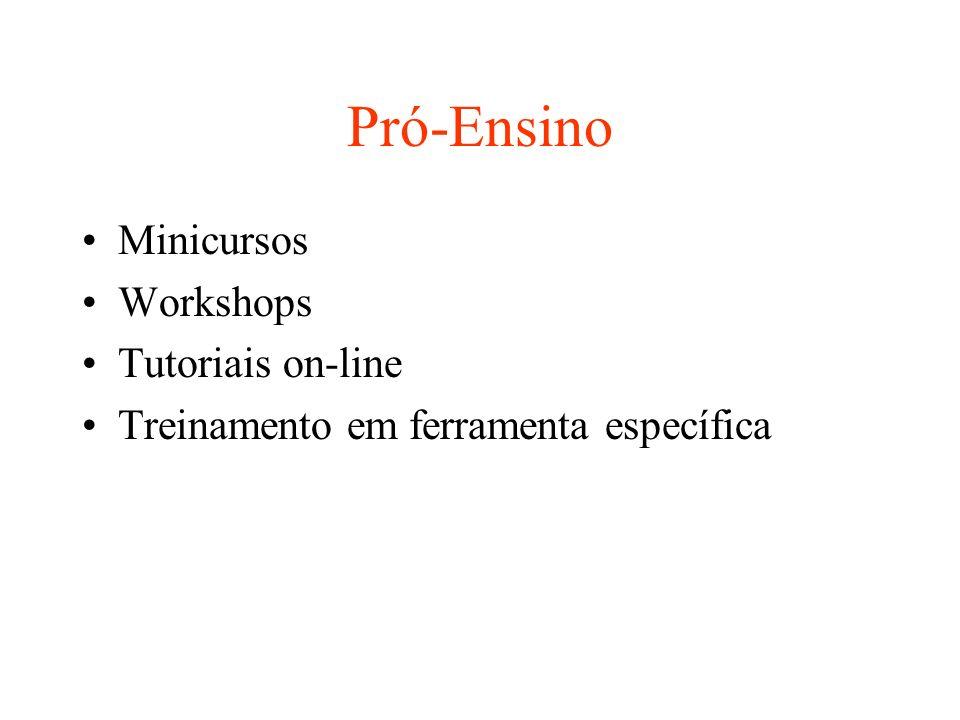 Pró-Ensino Minicursos Workshops Tutoriais on-line