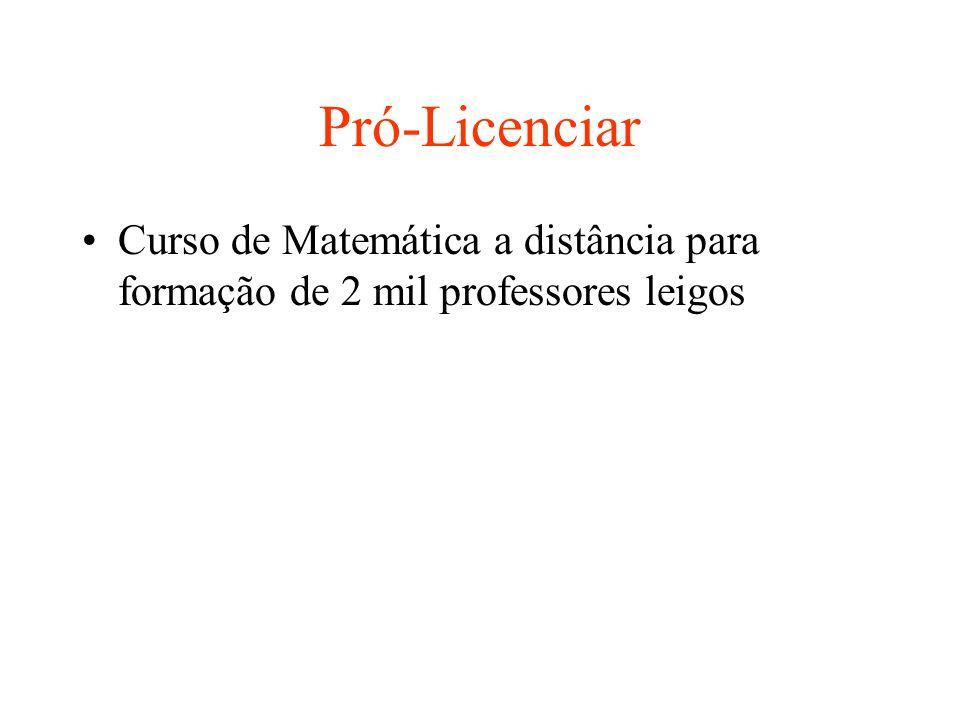 Pró-Licenciar Curso de Matemática a distância para formação de 2 mil professores leigos