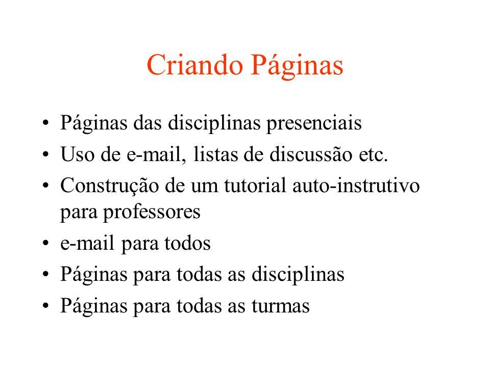 Criando Páginas Páginas das disciplinas presenciais