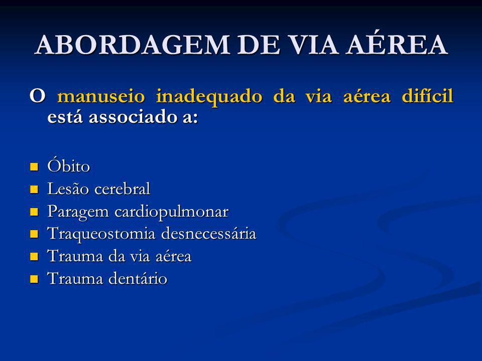 ABORDAGEM DE VIA AÉREAO manuseio inadequado da via aérea difícil está associado a: Óbito. Lesão cerebral.