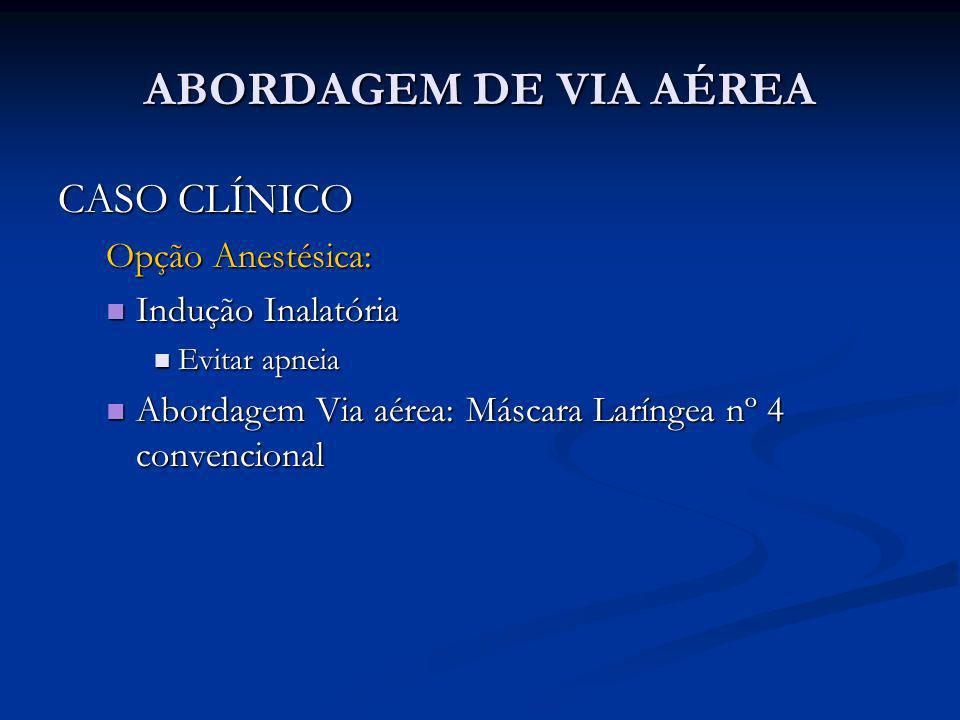 ABORDAGEM DE VIA AÉREA CASO CLÍNICO Opção Anestésica:
