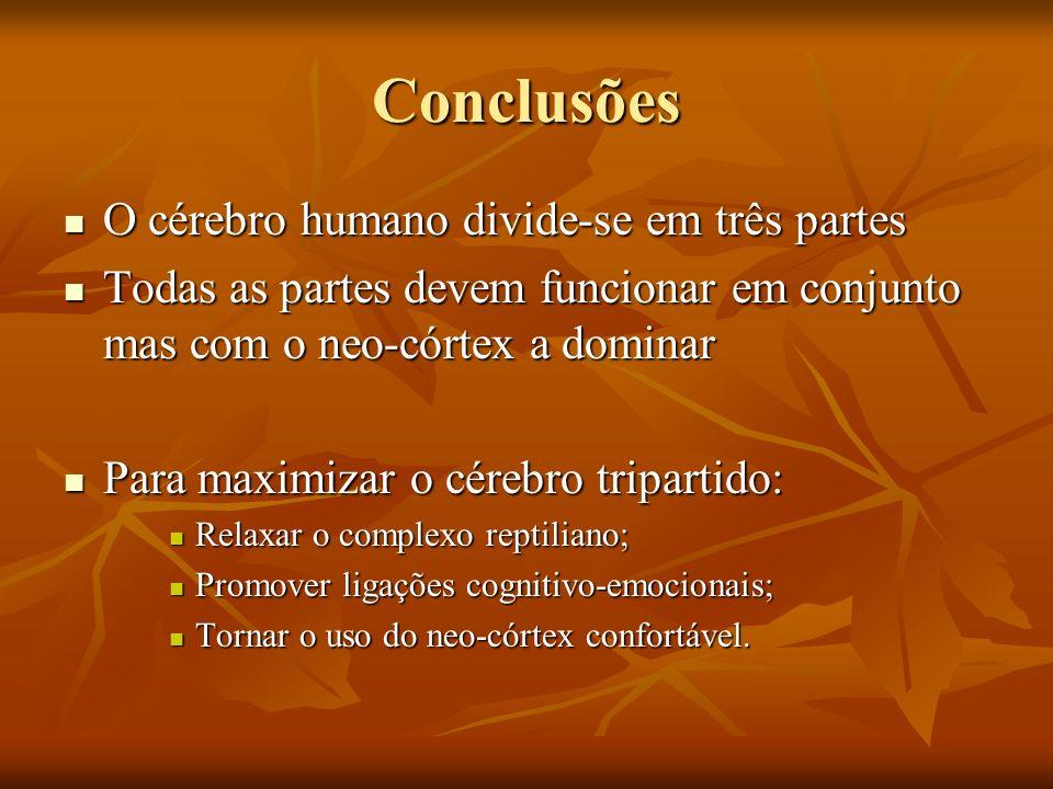 Conclusões O cérebro humano divide-se em três partes