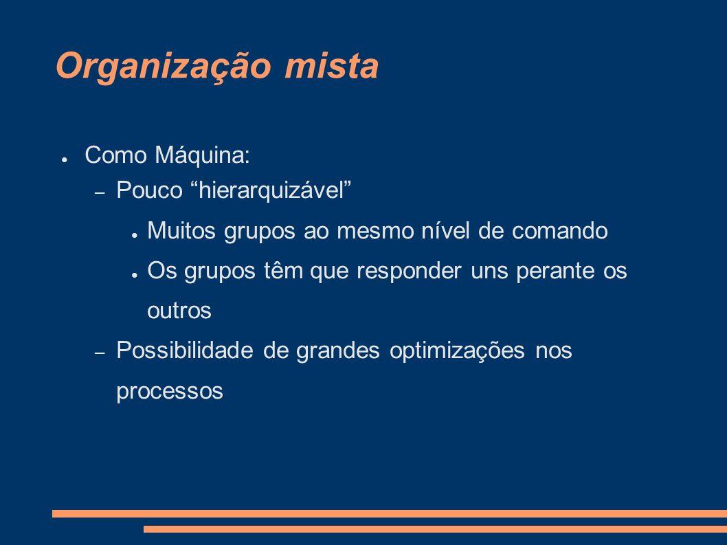 Organização mista Como Máquina: Pouco hierarquizável