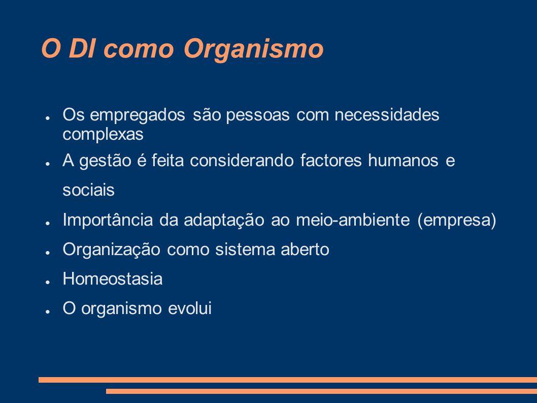 O DI como Organismo Os empregados são pessoas com necessidades complexas. A gestão é feita considerando factores humanos e sociais.
